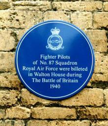 Blue plaque at Walton House