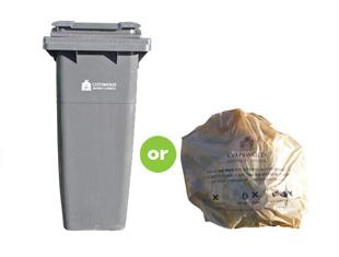 Grey-refuse-bin-and-beige-sack