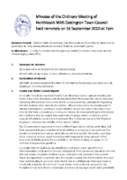 Minutes Town Council 16 September 2020