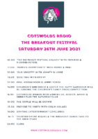 COTSWOLDS RADIO THE BREAKOUT FESTIVAL 26TH JUNE.21 SCHEDULE